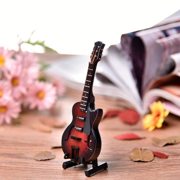 Miniature Guitar (red/black) with Stand and Leather Case