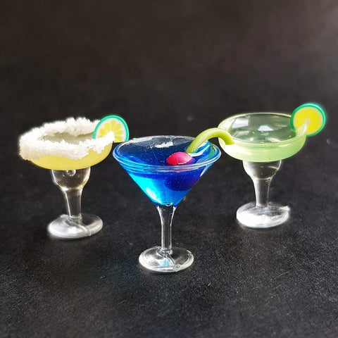 Trio set joyful cocktail drinks