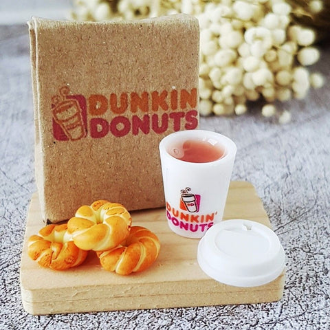Miniature Bag with Donuts and Hot Coffee for Dollhouse