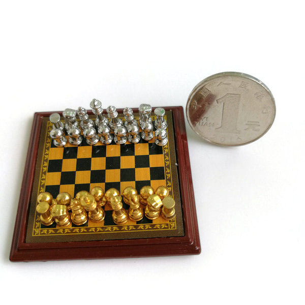 1/12 scale dollhouse miniature chess set silver and gold