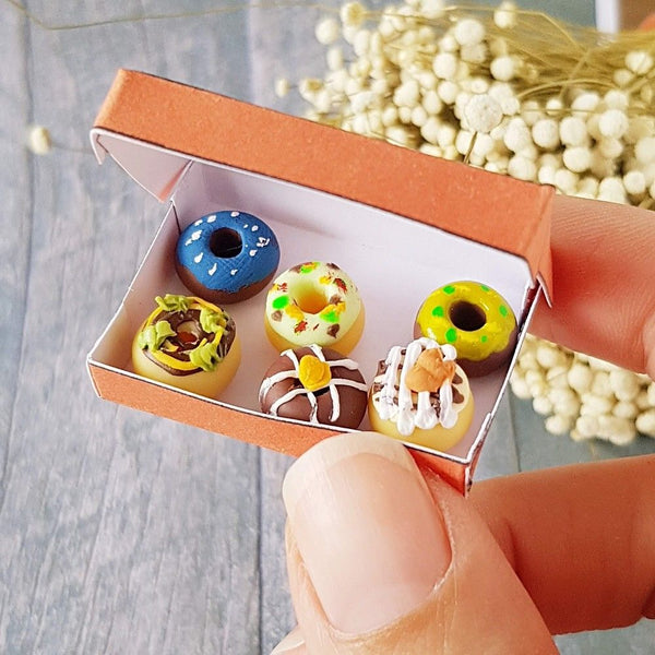 Dunkin Donuts Box with 6 Donuts (1:10 scale)