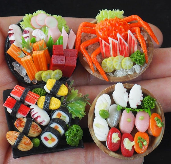Dollhouse Miniature Sushi and Sashimi (4 plates)