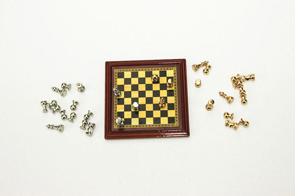 Miniature Chess Set (Silver and Gold) 1:12 scale