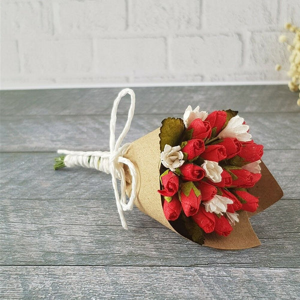 Mulberry Paper Red Rose Flowers Handmade Bouquet Miniature Valentines Gifts Cute