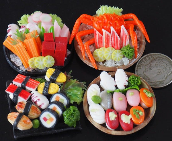1:12 Dollhouse Miniature Sushi and Sashimi (4 plates)