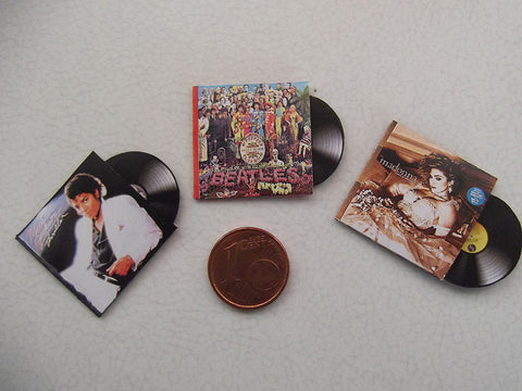 1:12 Miniature Vinyl Records (Michael Jackson, Beatles, Madonna)