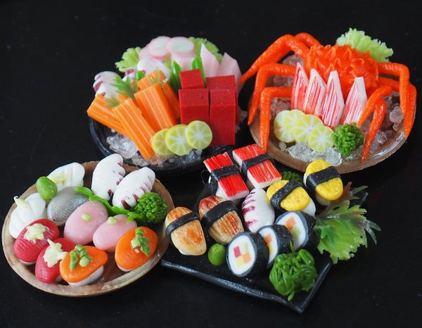 1:12 scale Dollhouse Miniature Sushi and Sashimi (4 plates)