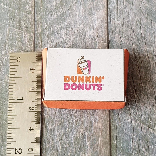 Miniature Dunkin Donuts Box with 6 Donuts (1:10 scale)