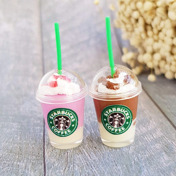 2x Miniature Starbucks Ice Coffee Cups