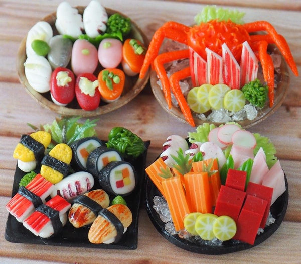 1/12 Dollhouse Miniature Sushi and Sashimi (4 plates)