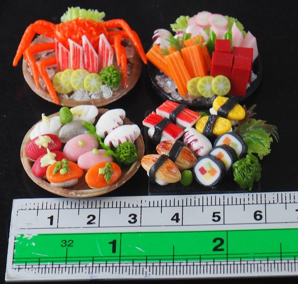 1/12 scale Dollhouse Miniature Sushi and Sashimi (4 plates)