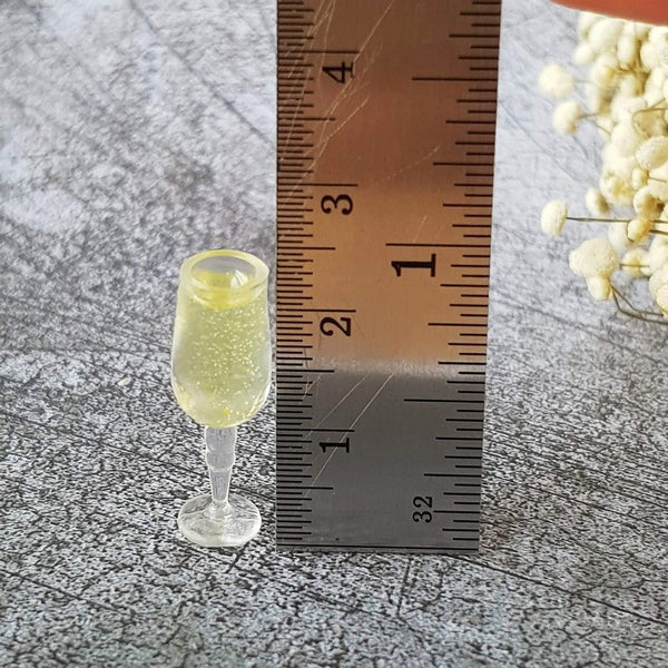 1:12 scale Miniature Wine Bottle and Two Glasses