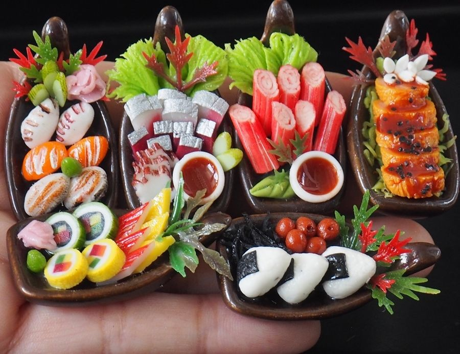 Dollhouse Miniature 6 Boats of Japanese Food