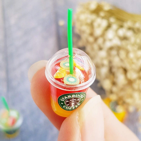 1:6 Dollhouse Miniature Starbucks Ice Juice Cups 4 pieces