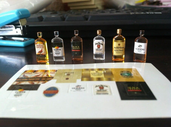 1/12 scale dollhouse miniature whiskey bottles