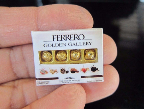 Dollhouse Miniature Ferrero Rocher Golden Gallery Chocolate Box