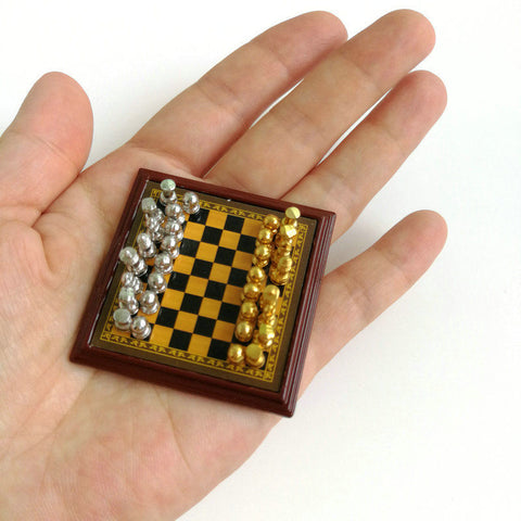 Dollhouse Miniature Chess Set (Silver and Gold) 1:12 scale
