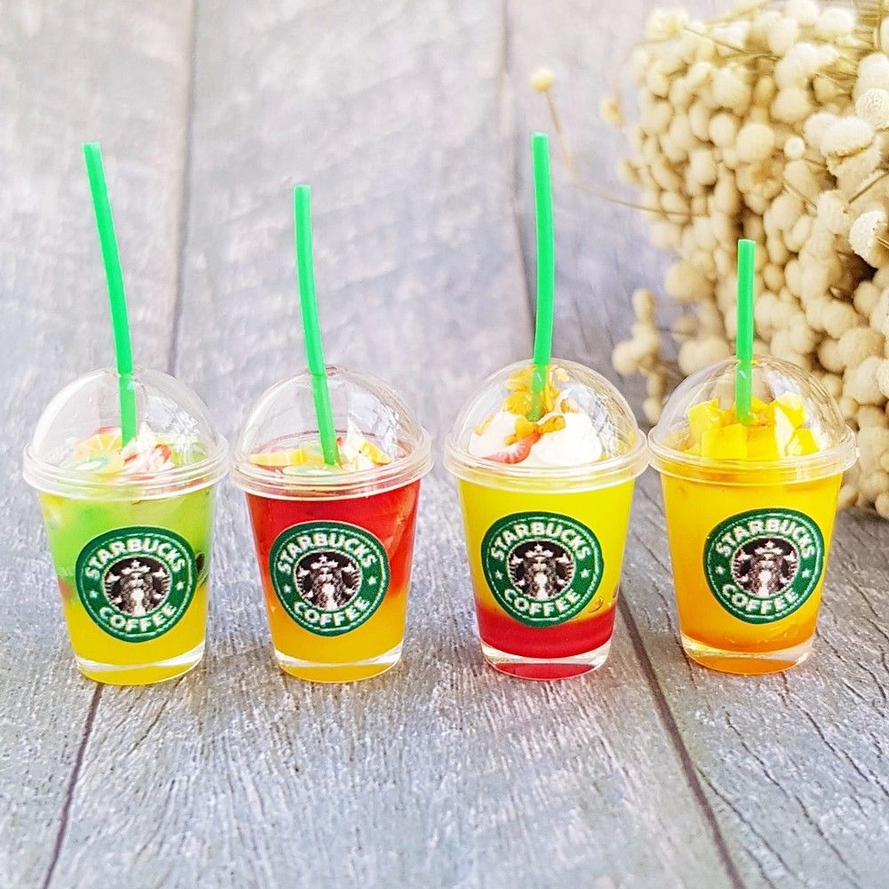 4x Dollhouse Miniature Starbucks Ice Juice Cups