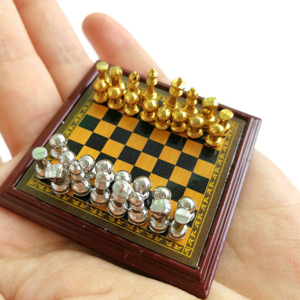 1/12 scale miniature dollhouse chess set gold silver