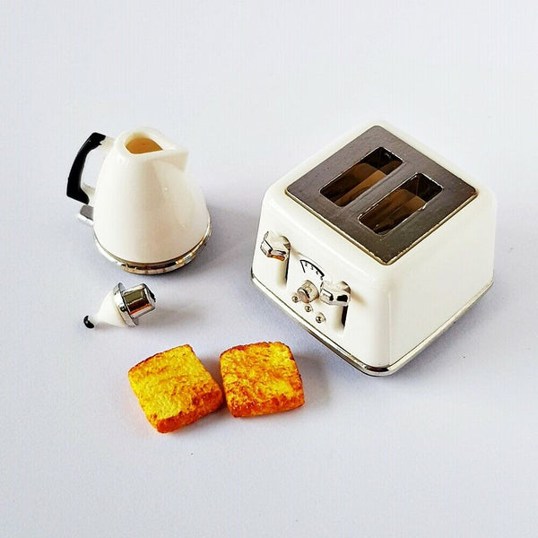 Electric Toaster Cooking Machine Pitcher Dollhouse Miniatures Breakfast Set
