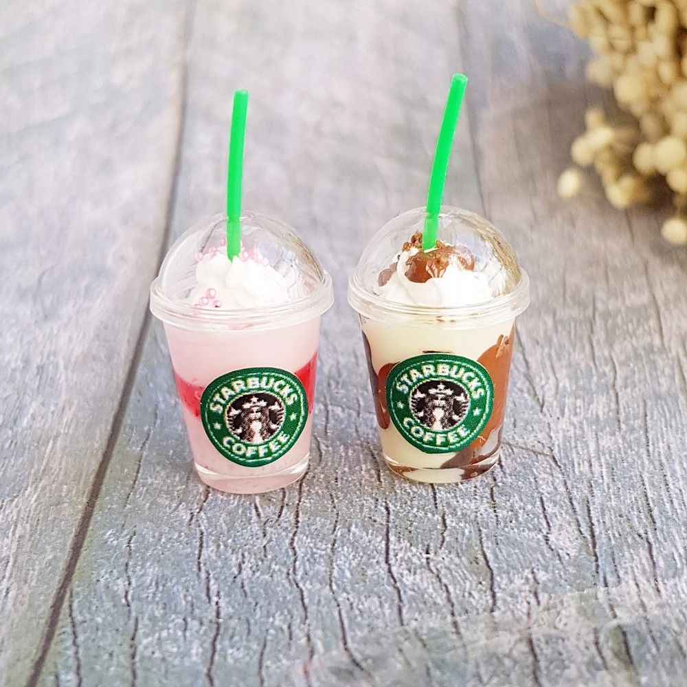Dollhouse Miniature Starbucks Ice Coffee Frappuccino (2 pieces)