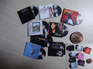1:12 Miniature Vinyl Records (8 records)