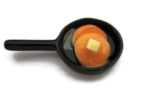 Dollhouse Miniature Frying Pan with Pancakes 1:12 scale