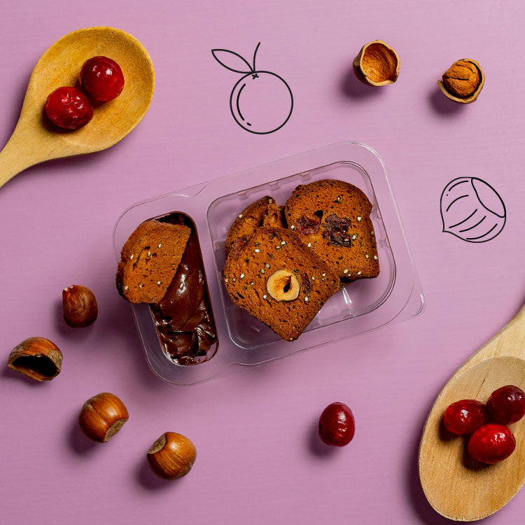 dark chocolate and cranberry & hazelnut toasts multipack
