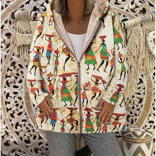 Casual Cotton And Linen Printed Hooded  Plush Coat