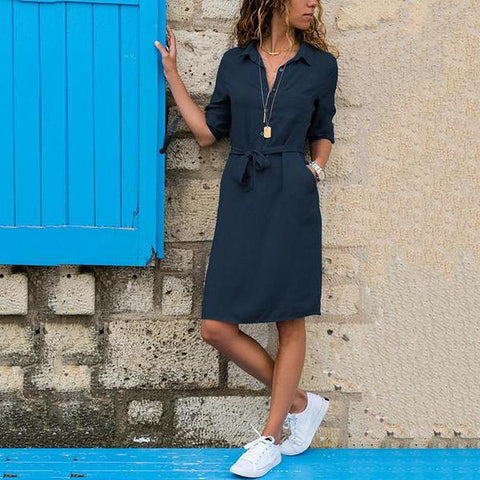 2019 Lapel Solid Color Long Sleeve Shirt Shift Dress