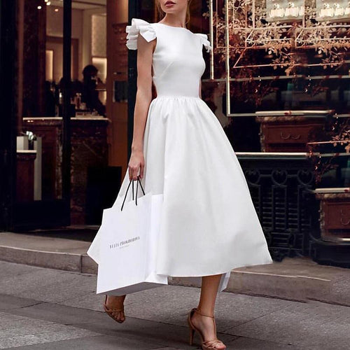 Majorgous Popular White Ruffled Irregular Evening Dress