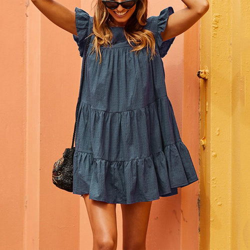 2019 Fashion Solid Color Round Neck Casual Dress