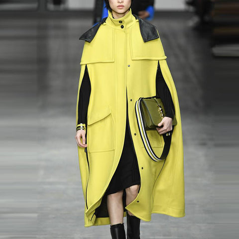Modern Stand Collar Yellow Pocket Long Sleeve Cloak