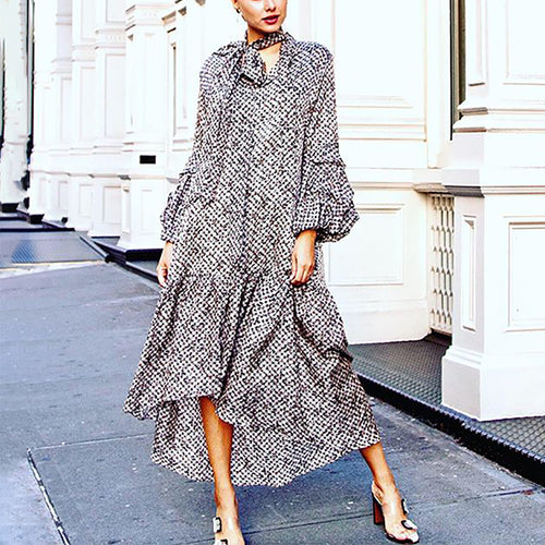 Glamorous Asymmetrical Bishop Sleeve Printed Colour Dress