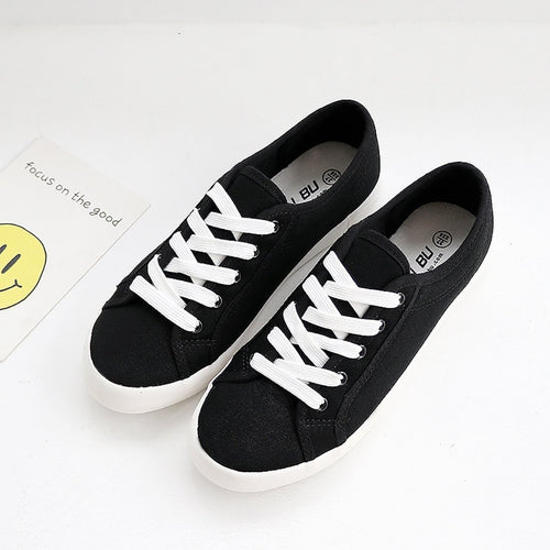 Simple breathable low-maintenance couple canvas shoes
