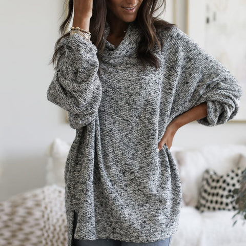 Casual Loose Long Sleeve Cowl Neck Sweater