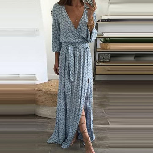 2019 Women Sexy V-Neck Split Plain Maxi Dresses