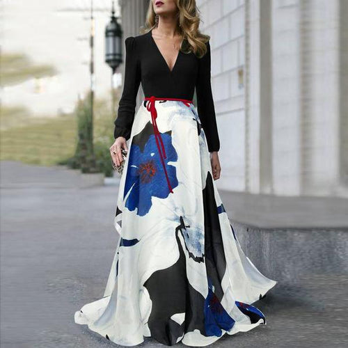 2019 V-Neck Belt Floral Printed Long Sleeve Maxi Dress