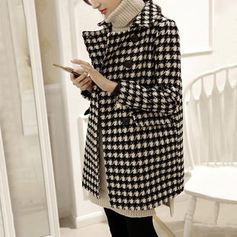 Autumn And Winter Fashion Houndstooth Style Coat