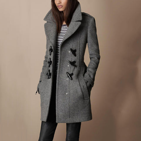 Women's Slim Lapel Horn Coat