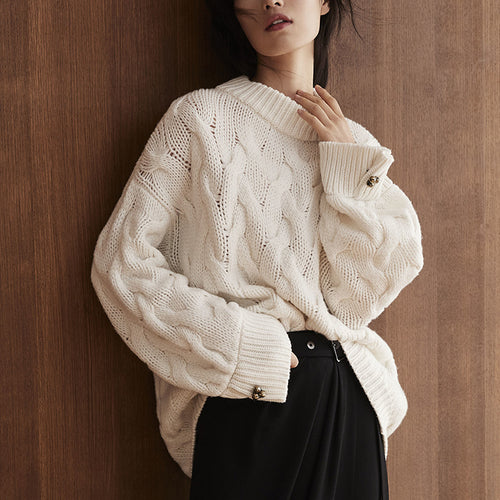 Casual Daily White Loose Long Sleeves Sweater