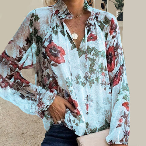 Elegant Floral Chiffon Long Sleeves Loose Shirt