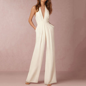 Women Deep V Neck Sleeveless Backless Solid Jumpsuit