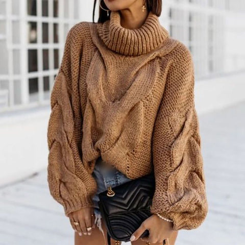 Casual High Collar Camel Long Sleeve Knit Sweater