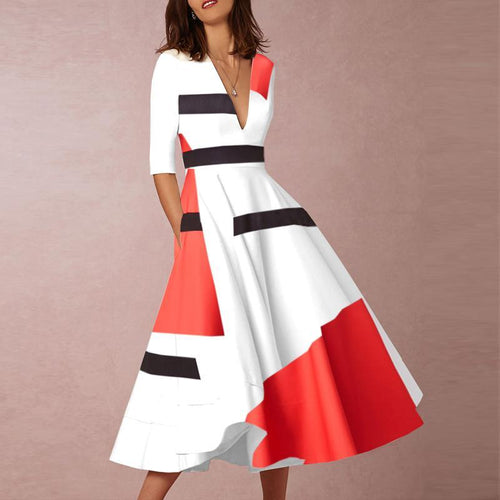 2019 V-Neck Abstract Print Geometric Printed Skater Dress