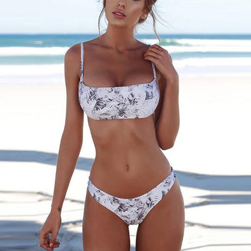 Majorgous Spaghetti Strap Backless Cutout Patchwork Plain Printed Bikini
