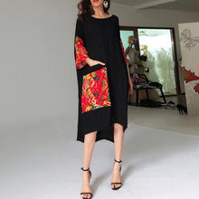 Round Neck  Patch Pocket Patchwork  Printed  Cotton/Linen Maxi Dress