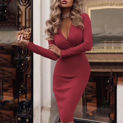 2019  V-Neck  Ruched  Plain Bodycon Dress