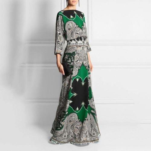 2019 Round-Necked Long-Sleeved Vintage Printed Maxi Dress