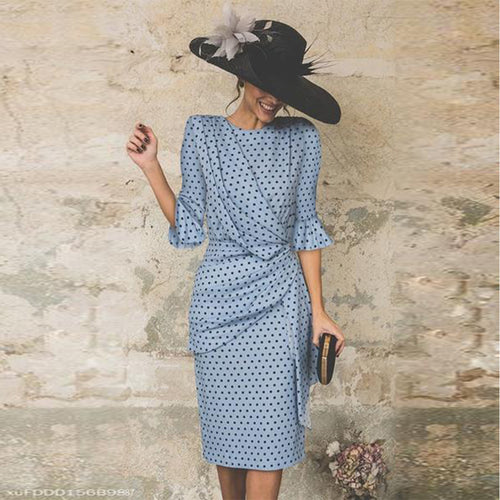 Crew Neck  Polka Dot  Petal Sleeve Bodycon Dresses